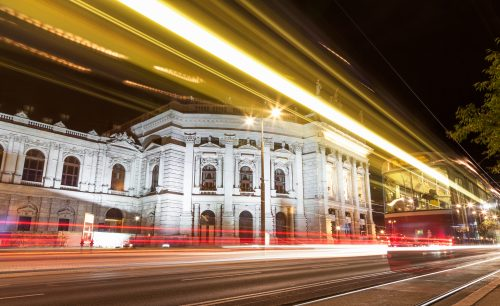 Famous Burgtheater in Vienna Austia at night